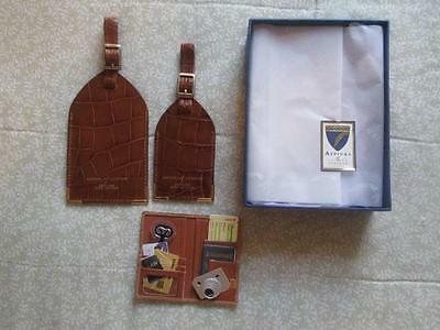 ASPINAL OF LONDON Dual Set Cognac Croc Brown Leather Luggage Tags, England