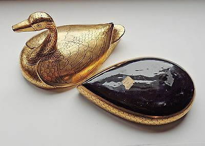 Vintage BURMA Gold & Black LACQUER DUCK BOX Bird Figural Jewelry Trinket