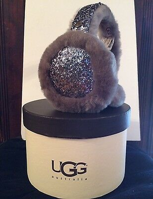 UGG Australia Two-Tone Black/Gray Sparkle Genuine Dyed Shearling Earmuffs