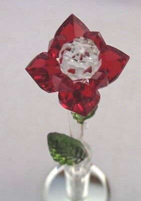Crystal World Long Stem Red Rose In Vase #882 NIB