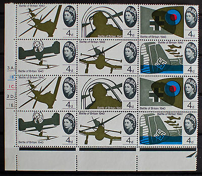 GB 1965 Battle of Britain. 4d cylinder block 3A. MNH. With VARIETIES.
