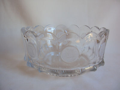 Vintage Fostoria Coin Pattern Clear Glass Round Bowl