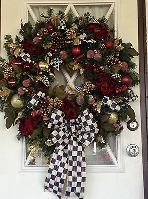 MacKenzie Childs Ribbons, CHRISTMAS WREATH, WREATH,  WREATHES,Lighted Wreath,