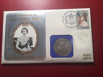 Isle of Man 1977 Royal Silver Jubilee Cover and Coin First Day  (ND065)