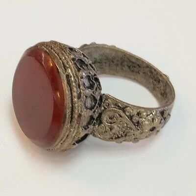 Rare Old Medieval Silver Ring  Agate Stone Ring #3