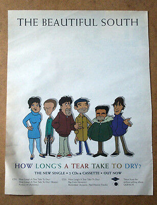 BEAUTIFUL SOUTH - HOW LONGS A TEAR 1999 Original MUSIC ADVERT POSTER 37 X 29CM