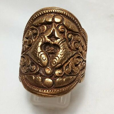 Rare Old Medieval Gold Gilding Ring 2 Fish Ring