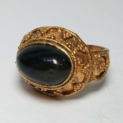 Rare Old Unique Medieval Ring Gold Gilding Ring Black Onyx Stone Ring