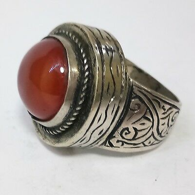 Rare Old Medieval Silver Ring Carnelian Stone Wonder Ring #3
