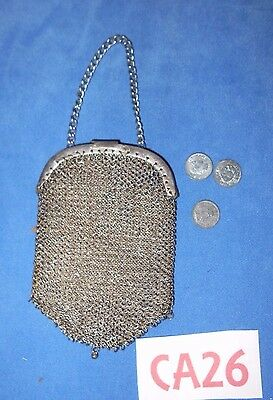 Antique Silver Mesh Handbag Purse Reticule for Antique German Bisque Doll CA26
