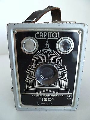 Vintage Capitol 120 Black Box Inst. Time Photograph Camera. Made in USA