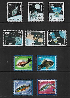 KAMPUCHEA, Cambodia - mixed collection, 1988 issues, Space, Fish
