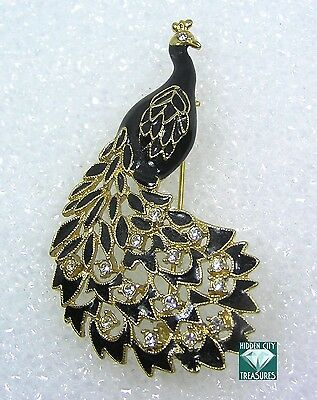 Stunning Peacock Pin Brooch Black Enamel Gold Tone with Clear Rhinestone Accents