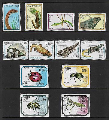 KAMPUCHEA, Cambodia - mixed collection No.2, 1987-1988, Reptiles, Insects