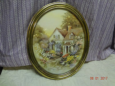 Home Interiors Large Oval Picture Gorgeous 21.5'' x 17.5'' Cottage