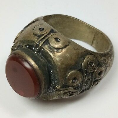 Rare Old Roman Unique Silver Ring Old Agate Stone Ring #2