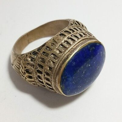 Rare Old Roman Unique Silver Ring Old Lapis Stone Ring