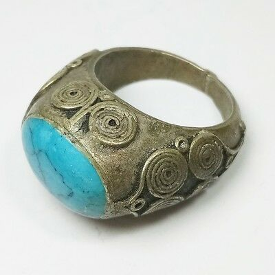 Rare Old Roman Unique Silver Ring Turquoise Stone Ring