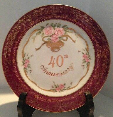 40th Anniversary Celebration Plate Roses With Gold Ribbons Lefton China Japan