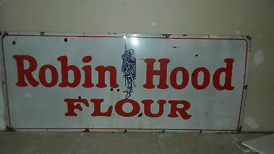 Early Large Robin Hood Flour Porcelain Sign  With Robin Hood
