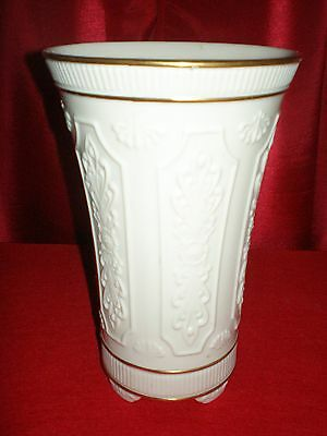 Vintage Large LENOX China Vase IVORY with 24k Gold Rim Beautiful Pattern Mint