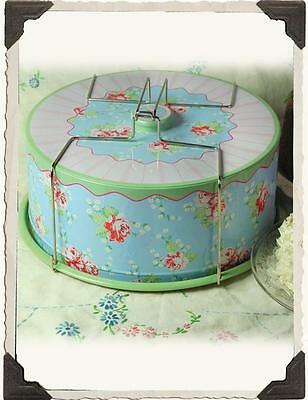 Chic Shabby Vintage Style  Blue  Floral Victorian Cake Carrier,5'' X 11.5''.