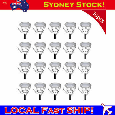 Pack of 16pc Recessed LED Deck Light Kits Outdoor Garden Porch Stairs Waterproof