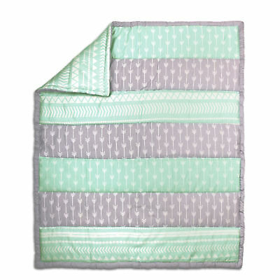 Mint Green and Grey Tribal Design 100% Cotton Crib Quilt by The Peanut Shell