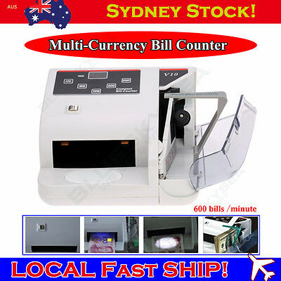 Bank Note Multi-currency Bill Counter counterfeit money detector 600 Bill/Minute