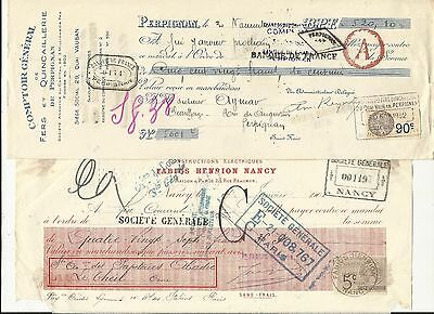FRANCE ~ USED FRENCH CHEQUES (MOST 1930s) WITH REVENUE STAMPS #2