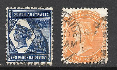 South Australia #106 & 107 used, perf 13, watermarked crown and letters SA