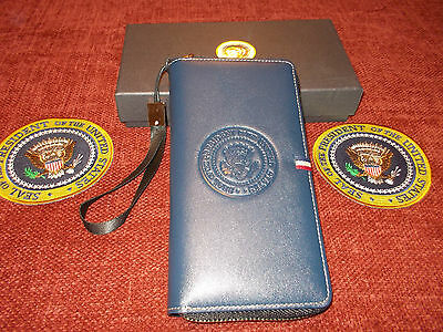 Ladies High Quality Pu Leather Presidential Blue Wallet With Presidential Seal
