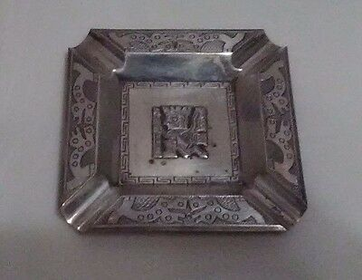 Vintage Sterling Silver Mexico Aztec Mayan Ash Tray Solid 925 53.5 gr.