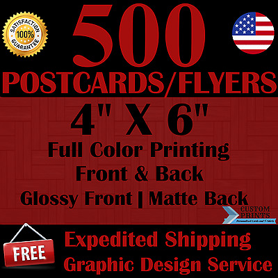 500 Custom 4X6 Postcards/flyers Full Color Printing Free Design Free Shipping