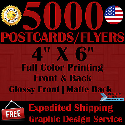 5000 Custom 4X6 Postcards/flyers Full Color Printing Free Design Free Shipping