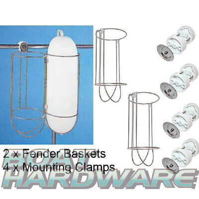 2 x Fender Basket PACKAGE Stainless Steel 250 x 560mm including 4 x Mount Clips