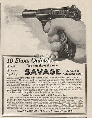 1909 Savage Arms Automatic Pistol Utica New York NY 10 Shots Quick! print Ad
