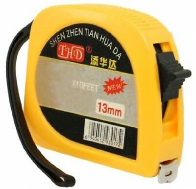 Plastic Case Locking Measure Tape 9.8 Ft 3 Meters 118 Inch W Hand Strap