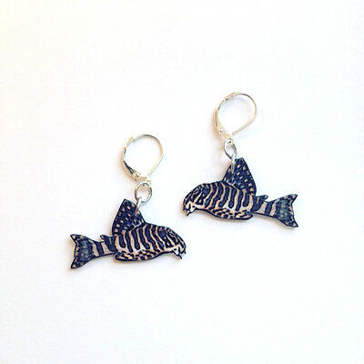 Tiger Pleco Plecostomos Earrings Handcrafted Plastic Made in USA