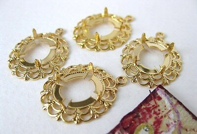 Vintage Prong Setting. Gold Lace Filigree for 12x10mm Rhinestone or Cabochon