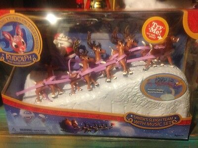 2014 Rudolph the Red-Nosed Reindeer SANTAS SLEIGH TEAM WITH MUSIC SET mib 50th !