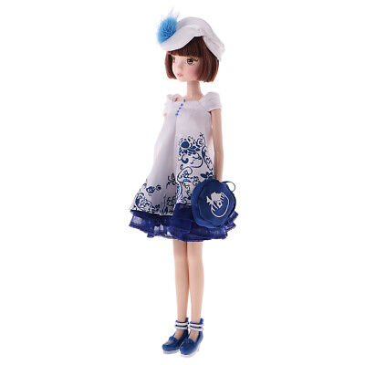 28cm Joints Vinyl Body Doll Fashion Costume BJD Doll with Accessories Blue