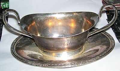 Camille Silverplate International Silver Gravy Boat + attached underplate #6013