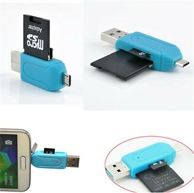 Micro USB +USB 2.0 OTG Adapter SD T-Flash Memory Card Reader for Smart Phone hs