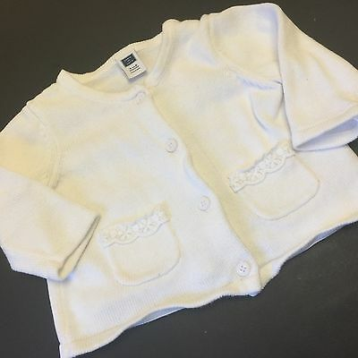 Janie & Jack Baby Girls White 100% Cotton Cardigan Knit Sweater 3-6 Months