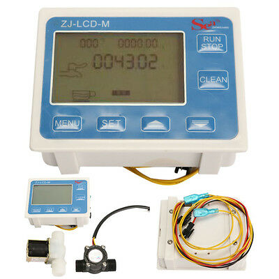 1/2'' Water Flow Control LCD Display Meter + Flow Sensor + Solenoid Valve Gauge