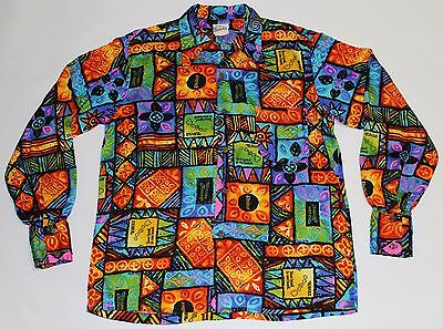 Rare United Airlines Hawaiian Shirt Vintage Evelyn Margolis Long Sleeve Size L