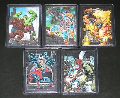 1992 Marvel Masterpieces DYNA-ETCH Insert Set of 5 Cards NM/M (Spectra)
