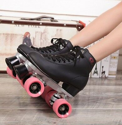 Roller Skates Outdoor Sports Double Two Line Pink 4 Wheels Adult Skating Shoes