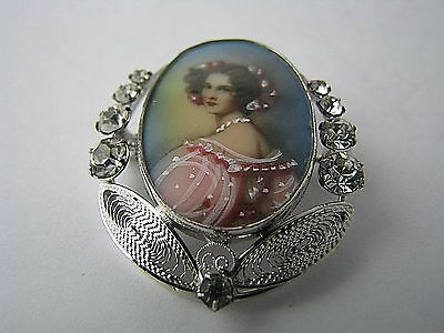 STERLING SILVER FRAME CRYSTALS PORTRAIT PAINTING BROOCH PENDANT Carl-Art ca1940s